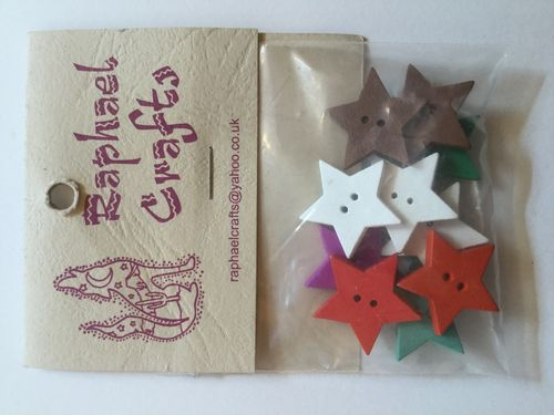 Mixed Star Wooden Buttons Pack Of 10