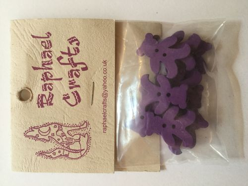 Purple Teddy Bear Wooden Buttons Pack Of 10
