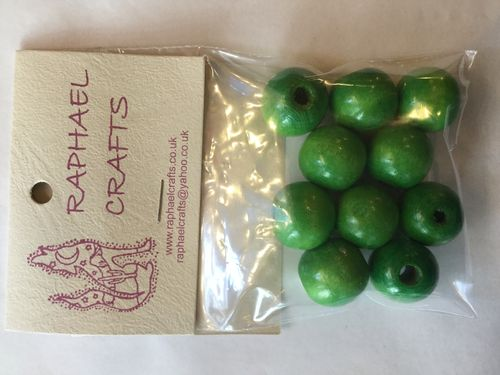 Green Large Wooden Round Beads Pack Of 10
