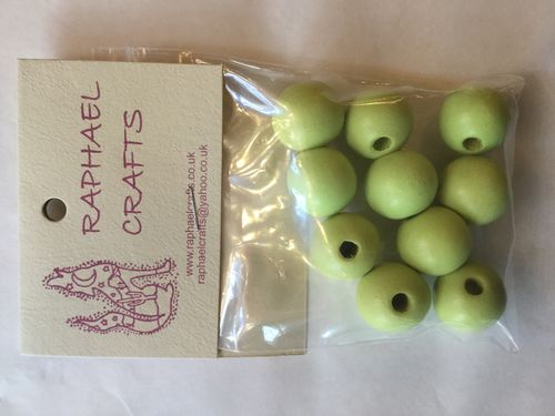 Pea Green Large Wooden Round Beads Pack Of 10