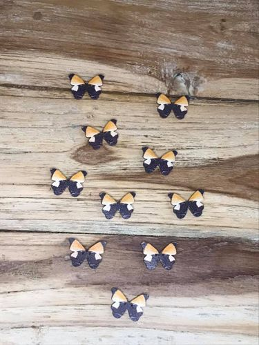10 orange and black butterfly and wooden buttons
