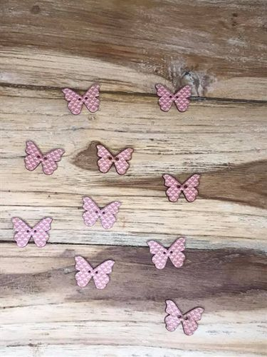 10 Pink and Green Art Deco Butterfly Wooden Buttons