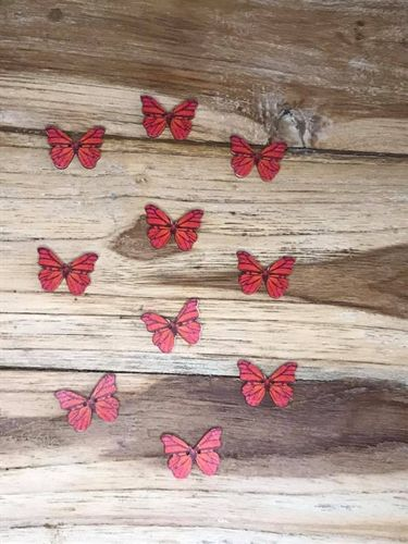 10 Red Butterfly Wooden Buttons