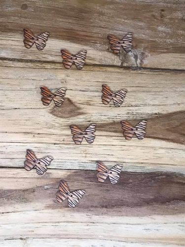 10 Tiger Striped Butterfly Wooden Buttons