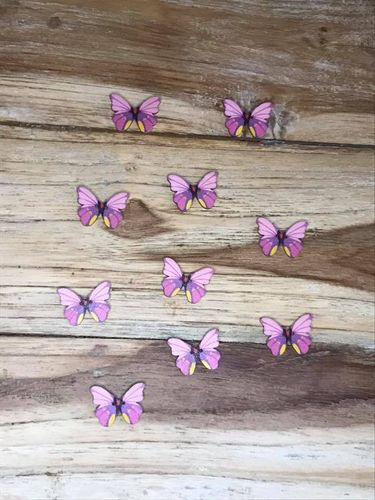 10 Purple,Pink and Yellow Butterfly Wooden Buttons