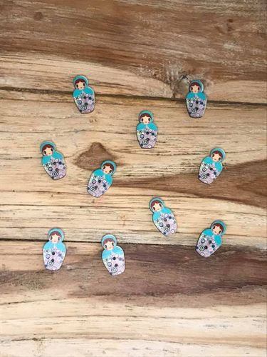 10 Turquoise Russian Doll Wooden Buttons