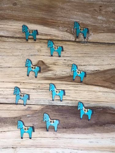10 Turquoise Horse Wooden Buttons