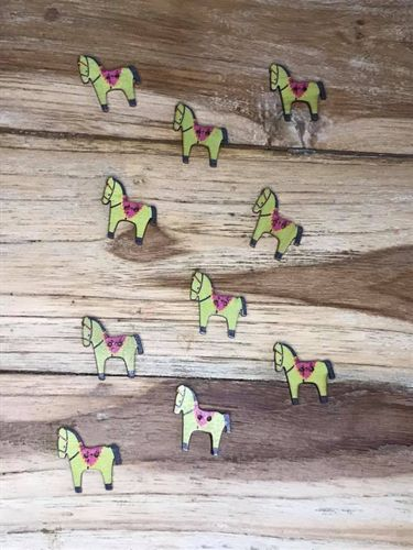 10 Green Horses with Purple Saddle Wooden Buttons
