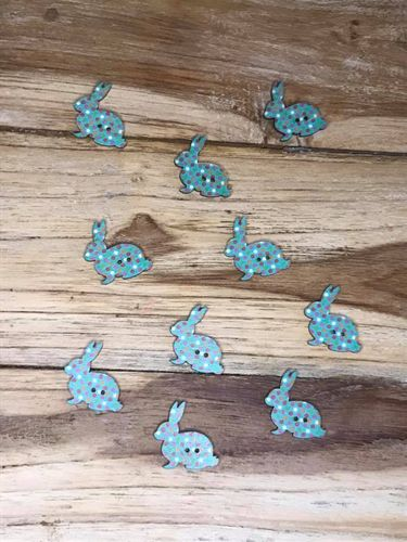 10 Turquoise Dotty Rabbit Wooden Buttons