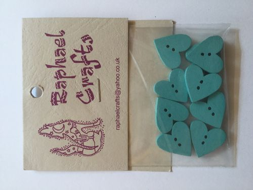 Blue Heart Wooden Buttons Pack Of 10