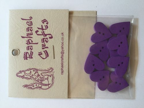 Purple Heart Wooden Buttons Pack Of 10
