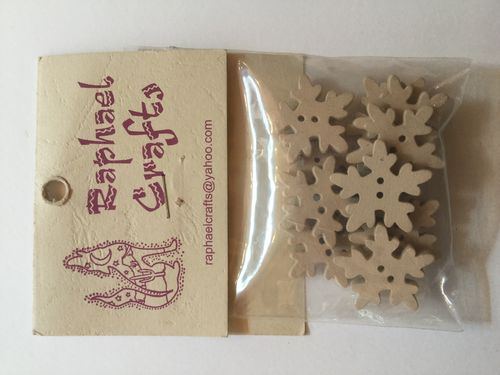 Natural Snowflakes Wooden Buttons Pack Of 10