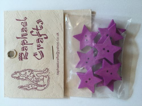 Pink Star Wooden Buttons Pack Of 10