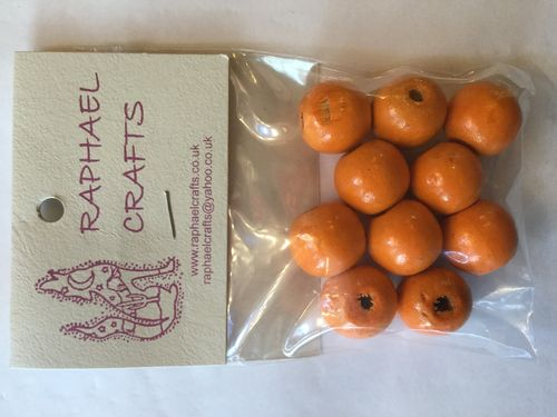 Orange Large Wooden Round Beads Pack Of 10