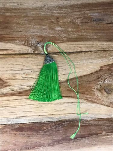 Large Green Tassel with Metal Top