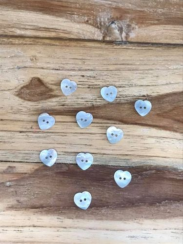 10 Medium Heart Mother of Pearl Buttons