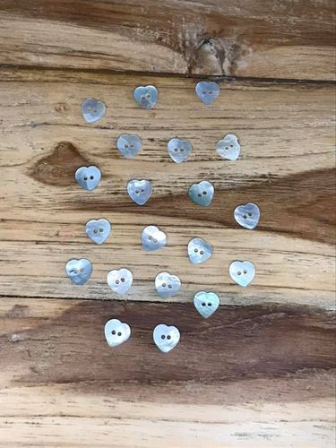 20 Mother of Pearl small heart buttons