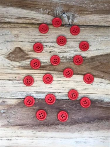 20 Red 4 hole Wooden Buttons