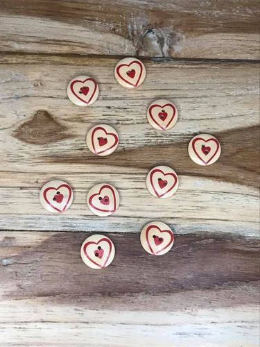 10 Wooden Button with Red Heart Within Heart Pattern