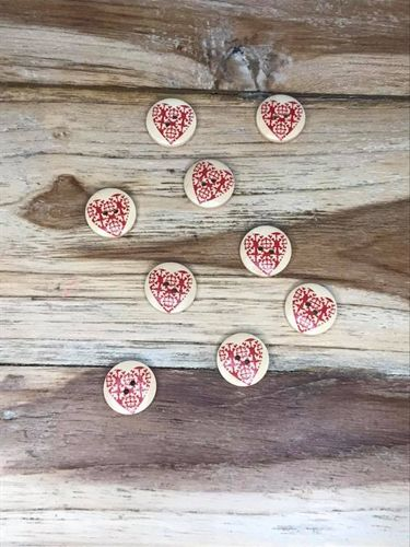 10 Wooden Button with Red Pattern Heart