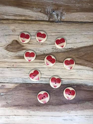 10 Wooden Button with Red Striped  Heart