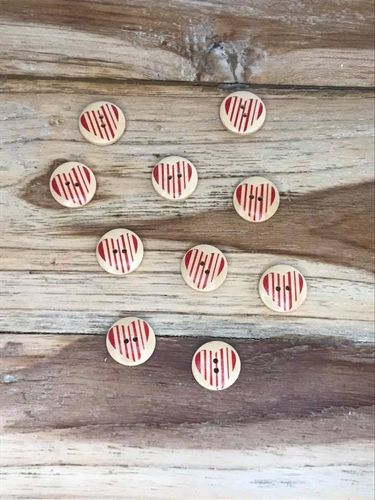 10 Wooden Button with Red Striped Down the Heart