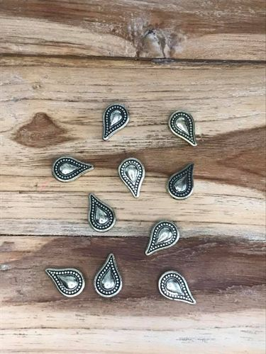 10 Old Gold Coloured Teardrop Shaped Acrylic Beads