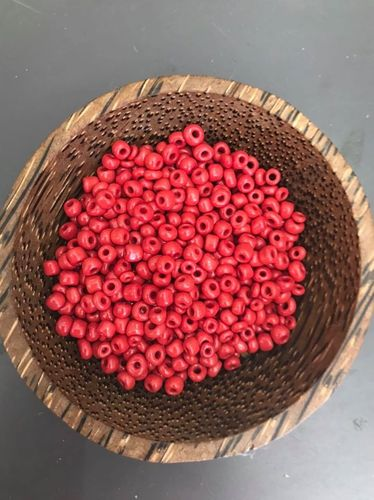 50 grams Coral Red Glass Size 6 seed beads