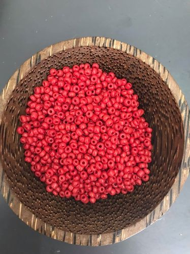 50 grams Coral Red Glass Size 8 seed beads
