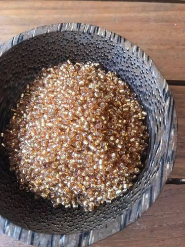 50 grams Old Gold Silver Lined Glass Size 11 seed beads