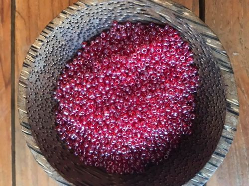50 grams Raspberry Clear Glass Seed Beads Size 11