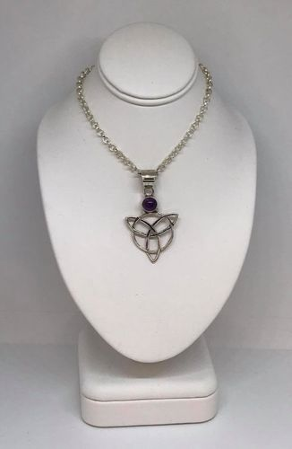 Amethyst Celtic Triangle 925 Silver Pendant