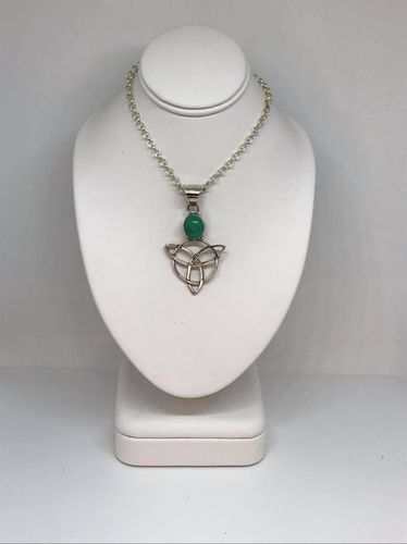 Malachite Celtic Triangle 925 Silver Pendant