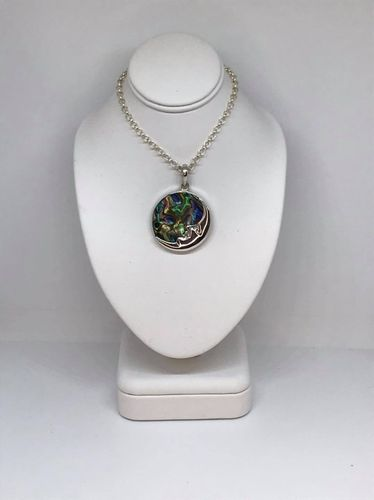 Abalone Shell Round Moon 925 Silver Pendant
