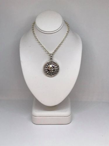 Mother Of Pearl Round Sun 925 Silver Pendant