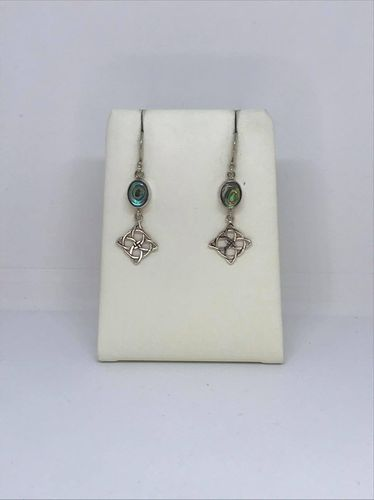 Abalone Shell Celtic Square 925 Silver Earrings
