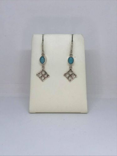 Amazonite Celtic Square 925 Silver Earrings