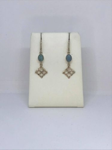 Turquoise Celtic Square 925 Silver Earrings
