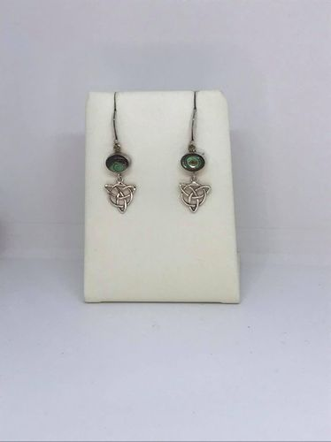 Abalone Shell Celtic Triangle 925 Silver Earrings