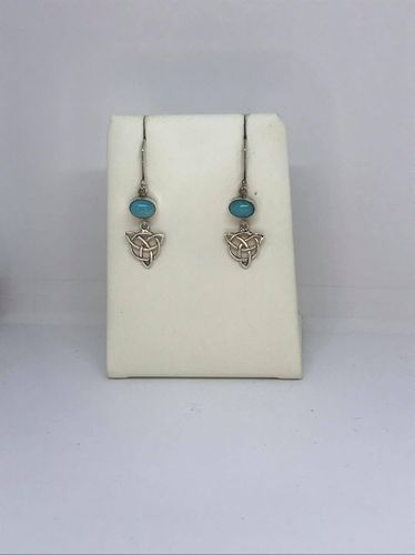 Amazonite Celtic Triangle 925 Silver Earrings