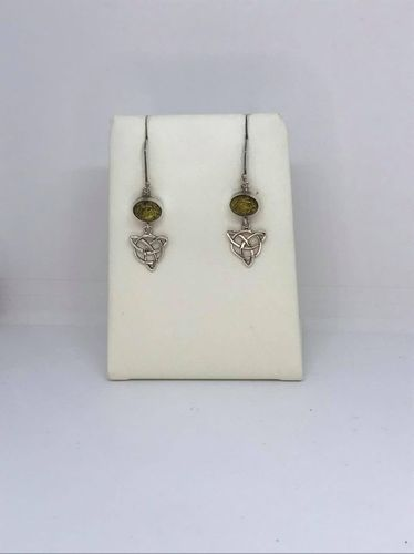 Green Amber Celtic Triangle 925 Silver Earrings