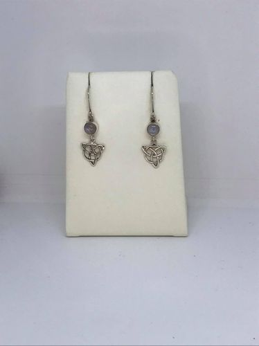 Rainbow Moonstone Celtic Triangle 925 Silver Earrings