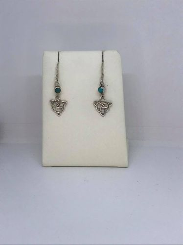 Turquoise Celtic Triangle 925 Silver Earrings