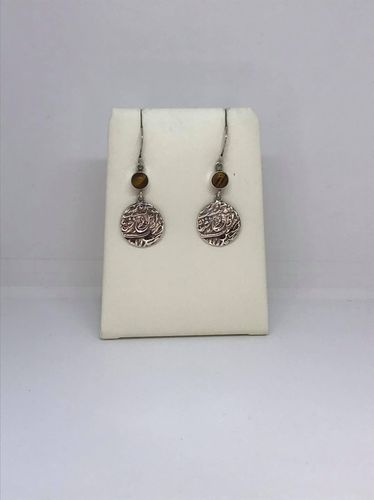 Tiger Eye Indian Coin Casting 925 Silver Earrings