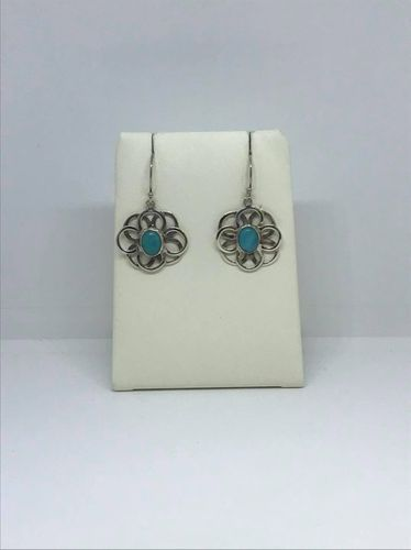 Turquoise Double Circle 925 Silver Earrings