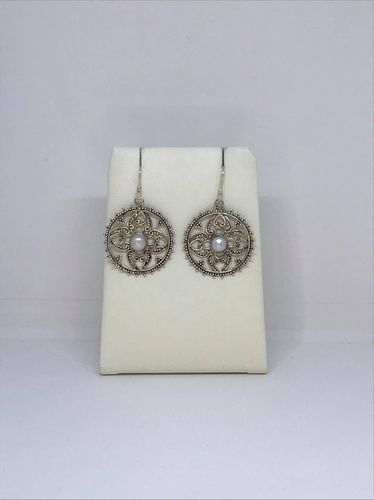 Freshwater Pearl Filigree Round Dot Work 925 Silver Earrings