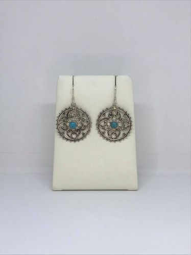 Turquoise Filigree Round Dot Work 925 Silver Earrings
