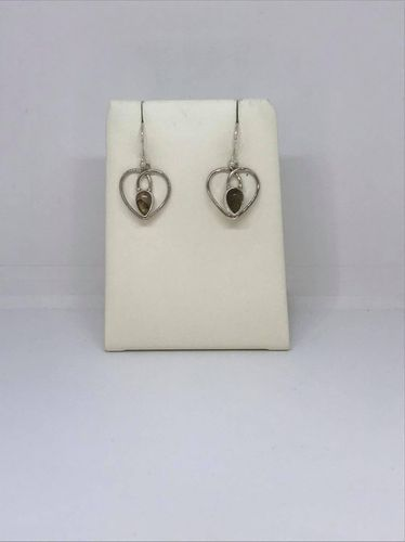 Labradorite Thick Heart 925 Silver Earrings