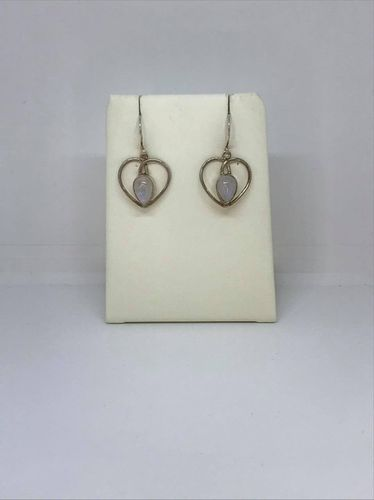 Rainbow Moonstone Thick Heart 925 Silver Earrings