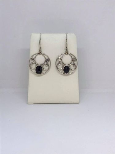 Onyx Large Circle 925 Silver Earrings